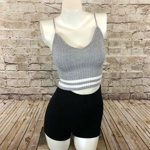 NWOT gray and white stripped cropped cami small